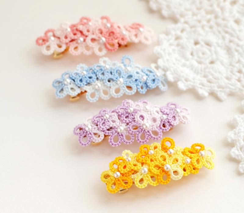 ホワイトとピンクのミックスの糸を使用